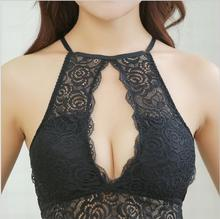 Buy 2017 New Strappy Lace Sexy lingerie Women Underwear Lace Bralette Bras brassiere wirefree crop bra top Halter Tank