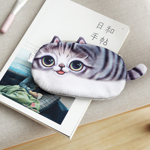 Kawaii Cat Zipper Pencil Bag Case Cute 3D Plush Cosmetic Purse Animal Wallet Large Capacity Pen Box School Supplies Stationery(China)
