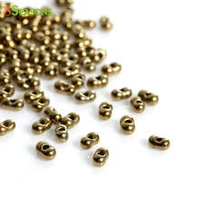 8SEASONS Japanese Glass Seed Beads Berry golden tone Antique Gold About 4x2mm,Hole: About 0.8mm,10 Grams(About 30 PCs/Gram)(China)
