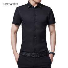 BROWON Brand New Summer Men Tuxedo Shirt Solid Color Turn Down Collar Short Sleeve Shirt Thin Style Party Shirt for Men Clothes(China)