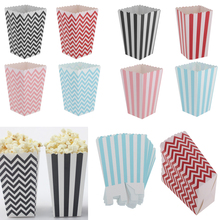 12pcs Striped Paper Popcorn Candy Boxes Bags Gift Wedding Party Favors Colorful for Christmas Weddong Party Decoration Accessory
