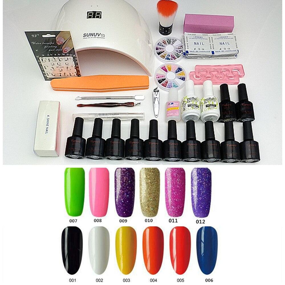 SUN9S Nail Set Kit Nail Gel Manicure Set 24W UV LED Lamp Nail Art Set Kits 6 Gel Polish 8ML UV Gel Primer 15ML Top and Base<br>