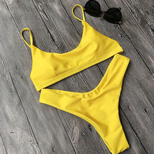 Sexy Yellow Bikini Brazilian Biquini 2017 thong Bikini Bottom Set swimwear Bathing Suits Maillot De Bain cheap swimwear(China)