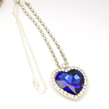Luxury Classic Heart of the Ocean Love Red/Blue Crystal Jewelry Pendants Chain Necklaces Set Wholesale