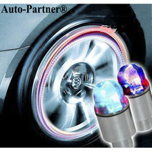 Super Auto Accessories Bike Supplies Neon Blue Strobe LED Tire Valve Caps Colorful Tyre Lighting Lamp
