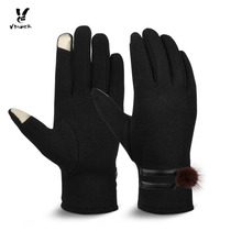 VBiger Women Gloves Thick Winter Warm Touch Screen Mittens Gloves Cold Weather Gloves with Lovely Woobies(China)