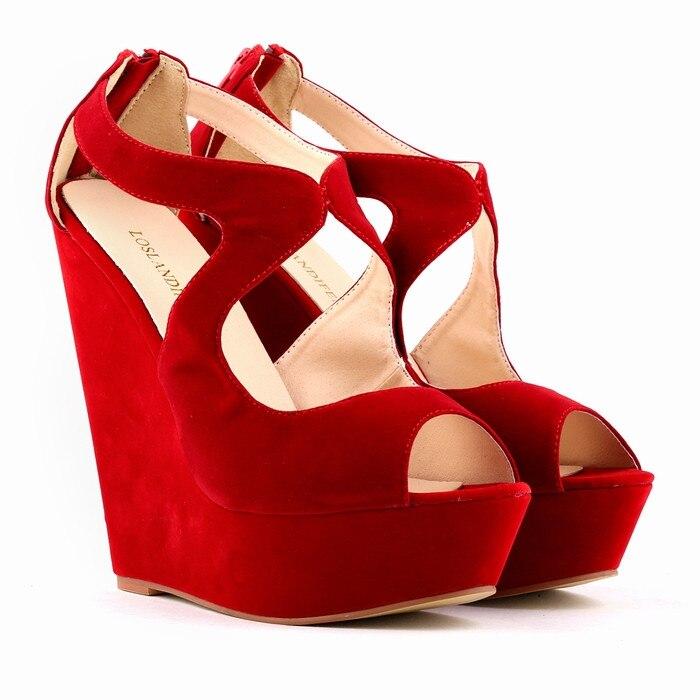 Pop hot Brand sexy Fashion Womens 5cm Platform Wedges 14.5cm High Heels Ladies Buckle Shoes Black Red Purple free shipping<br><br>Aliexpress