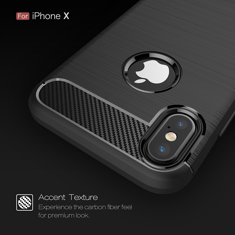 Carbon fiber brushed silicone case iphone x (3)