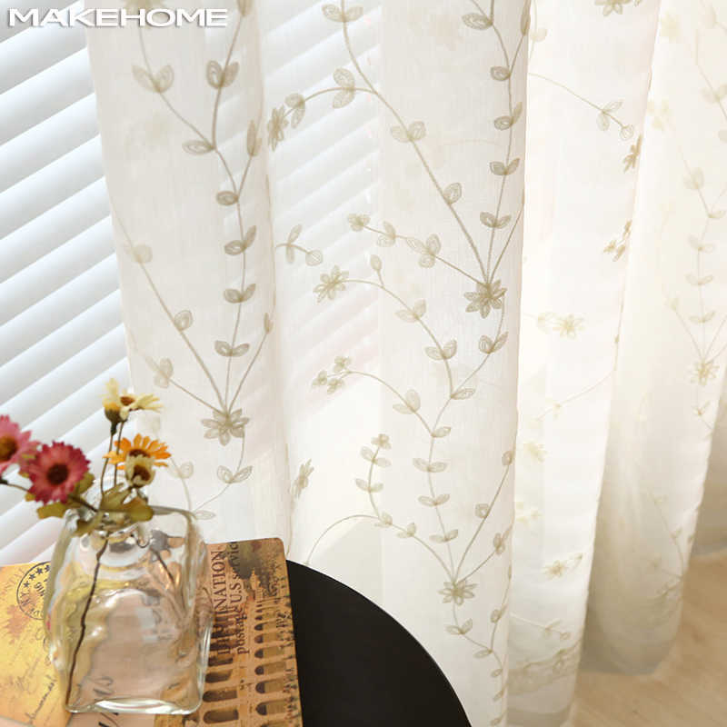 Embroidered Flower Leaves Tulle Curtains For Living Room White Blue Sheer Voile Curtains For Bedroom Finished Curtain Drapes
