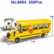 6854 302pcs City Yellow School Bus Building Block Brick Toy(China)