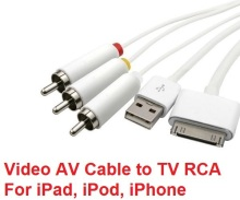 Composite Video AV Cable to TV RCA USB Charger Cable for iPad 1/2/3 iPhone 4 4S iPod Touch RCA AV Cable
