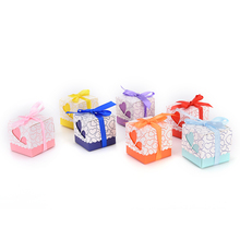 Fast shipping 15pcs with Ribbon Baby Shower Paper FAVOUR box gifts chocolate box Heart Wedding Favor Candy Boxes