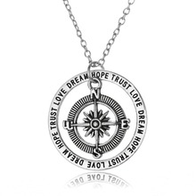 Vintage Compass Love Dream Hope Trust Charm Chain Pendant Necklace Women Men Jewelry Gifts Necklaces