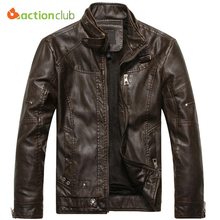ACTIONCLUB 2017 Mens Brand Motorcycle Leather Jacket Men Jaqueta De Couro Masculina Mens Leather Jackets Zip Leather Coats(China)