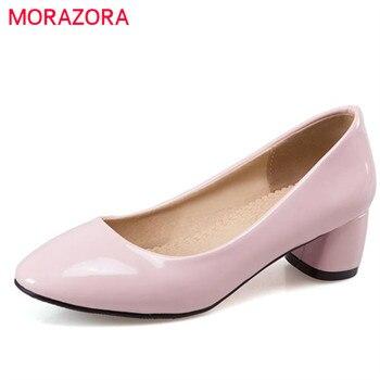 Morazora sapatos tamanho grande 33-47 2017 venda quente mulheres senhora do escritório mulheres bombas de trabalho sólida pu sapatos única mulher sapatos saltos vestido