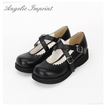 Japanese Lolita Girl School Uniform Mary Jane Wedge Shoes Black PU Leather Platform Shoes(China)