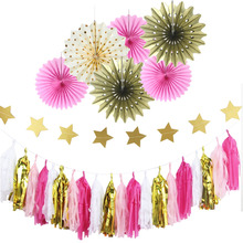 Pack of 27 Paper Decoration Set Gold Foil Paper Rosette (Star Banner,Tassel,Pinwheels) Wedding Birthday Party Showers Decor