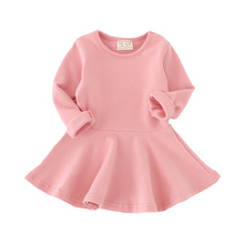 Girls Dress princess Autumn Kids Dresses for Baby Girls clothes Long Petal Sleevel solid Children Clothing 1-4Y(China)