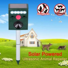 Pest Reject Cat Repeller Ultrasonic Solar Power Animal Adjustable Repellent Cat Dog Foxes Outdoor Garden Pest Control Frequency(China)