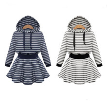 Hooded Autumn Winter Women Dress Striped Fashion Robe Sexy Long Sleeve Mini Clothing Plus Size XL,XXL,3XL,4XL,5XL A-Line Dress(China)