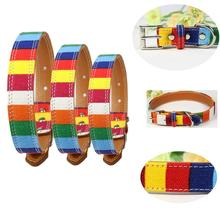 New Pet Dog collar Adjustable perro Collar Leather Plain collar for big small dog Colorful Rainbow Dog collor Size S M L