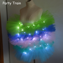 2017 Voile Solid Organza Fashion Dance Led Tutu Mini Skirt Up Neon Fancy Rainbow Costume Adult Light Corset Saia(China)