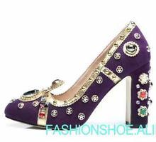 real photo Luxury crown purple high heel leather thick heel shoes women  diamonds beading chunky heel wedding shoes large size 42 99b7f500c4d6