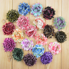 "50pcs/lot 2.5"" leopard pattern chiffon chic frayed print shabby flowers for headbands hair accessories"