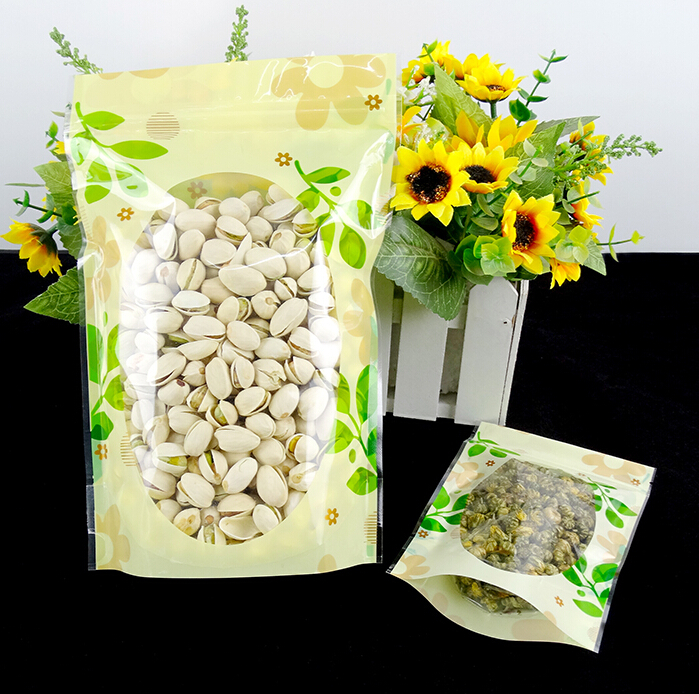 50pcs 6 sizes Green printed Heat Seal Zip Lock Package Bag keep fresh food tea cookies candy packaing Stand Bag Wholesale