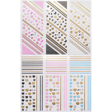 6 SHEETS / LOT  3D SELF ADHESIVE NAIL STICKER FLOWER CHAIN FLOWER HEART BOW TIE WITH GOLD SILVER OUTLINE NAIL DECAL TA07-12