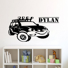 Car Jeeps Wall Stickers Home Decor Customized Boys Name Removable Vinyl Wall Art Decals For Kids Bedroom(China)