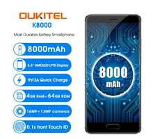 "Free Case OUKITEL K8000 5.5""HD AMOELD MTK6750T Octa Core 4GB+64GB Mobile Phone Android 7.0 13MP Dual Rear Camera OTG Fingerprint(China)"