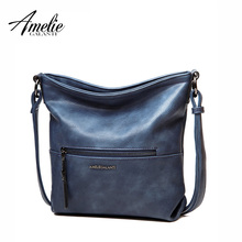 AMELIE GALANTI  2017 Women Messenger shoulder Bag Vintage High Quality crossbody bags Casual Solid Zipper 4 Colors fashion