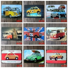 VW Bus Tin sign Art wall decoration House Cafe Bar vintage Metal Painting Mix order 20*30 CM