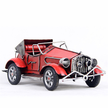 Hot Antique Iron Classic Car Model Artcrafts Convertible Miniature Fashion Decorative Props Home Decloration Accessories