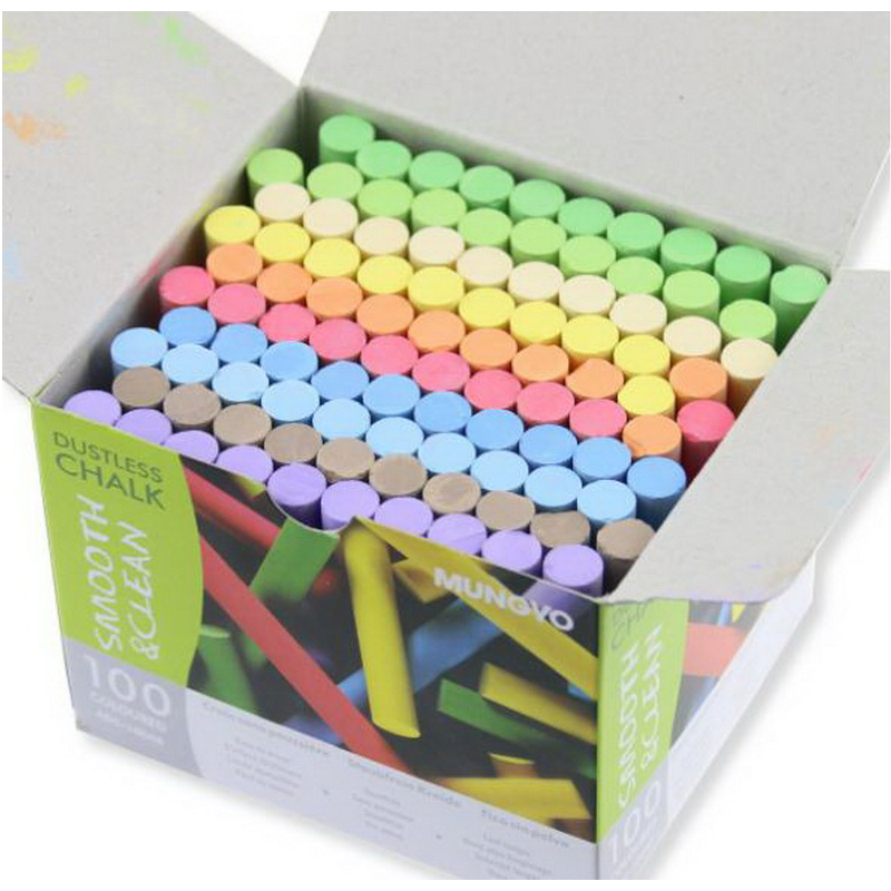 210804/Multicolour dustless chalk child 100 multicolour dustless chalk/Teacher dedicated chalk/No irritating odor<br>