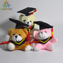 "10pcs/Lot Cartoon 6cm(2.4"") Teddy Bear Graduation Bear Plush Joint Doctor Bear Pendants Toys For Key/Phone/Bag(China)"