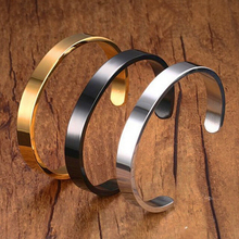 Gold Bangles Customized Jewelry Engraving Stainless Steel 6mm Men Engravable C Cuff Bracelet Couple Bangle for Women Hot Sale