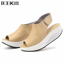 Summer Women Sandals Genuine Leatherl Casual Shoes Women Platform Sandals Peep Toe Swing Walk Shoes Woman Big Size 41 42 43