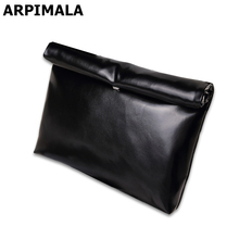 ARPIMALA Oil Leather Clutch Bag Women Cheap Handbags Candy Color Ladies Hand bags Luxury Party Evening Bag Big Envelope Clutchs