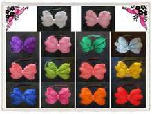 14pcs blessing good girl boutique angel headband bowknot pure solid ribbons made hair bow Shipping three layer