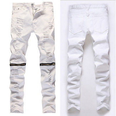 Mens Vintage Ripped Jeans Distressd Slim Straight Denim Pants Zipper TrousersОдежда и ак�е��уары<br><br><br>Aliexpress