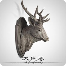 A big wind European style of the ancient American living room wood sculpture Shoutou shield resin water deer wall hangings(China)