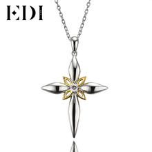 EDI Classic Unique Natural Topaz Religious Cross Pendants Necklace for Men 925 Sterling Silver 18K Gold Gemstone Fine Jewelry(China)