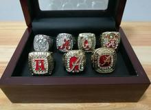 Wholesale Replica 7 Sets 1992/2009/2011/2012/2015/2016 Alabama Crimson Tide National Championship Rings With Wooden Boxes