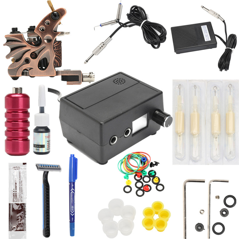 Complete Tattoo Kit Set Tattoo Motor Machine tool Power Needles Black Inks Gripping Tool For Pro Permanent Makeup Body Art<br>