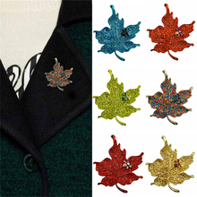 Multi Color Crystal Rhinestone Maple Leaf Brooch Pin Plant Costume Jewelry Brooches For Women