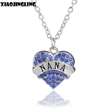XIAOJINGLING Brand Shine Clear Blue Crystal Heart Engraved NANA Necklace Charm Necklaces & Pendants Share With Family Member(China)