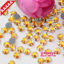 All Sizes AAAAA Luxury Hot Fix Citrine AB Rhinestone Flatback Crystals Iron On Hotfix Strass Better Than DMC Rhinestones Y3830(China)