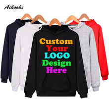 Custom Hoodies Logo Text Photo Print Men Women Kids Personalized Team Family Customize Sweatshirt Promotion AD Apparel Clothes(China)